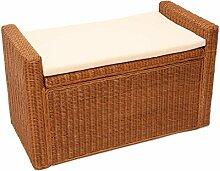 Mendler Sitzbank Sitzhocker M92 Rattan mit