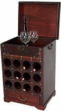 Mendler Weinregal Calvados T254, Flaschenregal Regal Holzregal, für 12 Flaschen Kolonialstil 69x47x38 cm