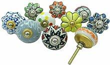 Menge 10 Stück Schrank Ziehen Hardware-Kabinett Indische Hand Keramik Knöpfe Gemal