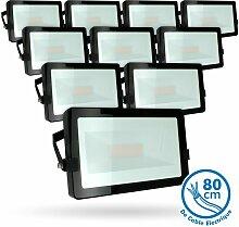 Menge von 10 LED-Flutlicht 50W Schwarz Outdoor