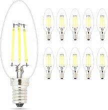 Mengjay 10er-Pack 4W E14 LED-Filament-Kerze-Birnen