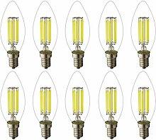 Mengjay 10er-Pack C35 6W LED Glühfaden LED Kerze