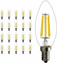 Mengjay 20 Packs E14 6W LED Kerzenbirne Lampe