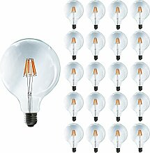 Mengjay® 20er-Pack, 8W E27 LED-Lampe, Globe-Form im Retro-Design, mit Schraubsockel: E27, 8W, 220 - 240 V, 70W-Ersatz, im Filament-Stil, Warmweiß, 2200 K