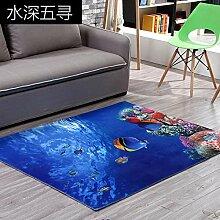 Mengjie 3D Cartoon Teppich Blue Ocean Fish Area
