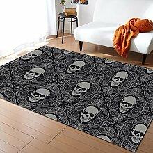 Mengjie Home Teppich Graues quadratisches Skelett