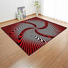 Mengjie Home Teppich Schwarze und rote Streifen