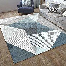 Mengjie Home Teppich Streifengeometrie des blauen