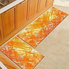 Mengjie Modern Küchenläufer,2PCS Aquarell Orange