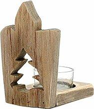 Mengonee Weihnachten Holz Rustikale Kerze Hohle
