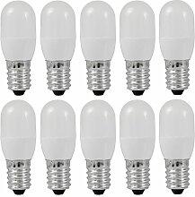 MENGS® 10 Stück E14 0.5W LED lampe 3x5050 SMD Für Kühlschrank Leuchtmittel Mit PCB Mantel (60LM, Warmweiß 3000K, AC 220 - 240V, 180º Abstrahlwinkel, Ø20×54mm) Super energiesparend licht gut für die Wärmeabgabe