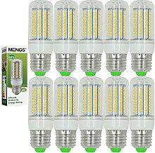 MENGS® 10 Stück E27 12W LED lampe Leuchtmittel & Birne Mais Licht 102 x 2835 SMD LEDs Mit PC Mantel (750LM, AC 220-240V, Warmweiß 3000K, 360º Abstrahlwinkel, Ø32×95mm) Energiespar lich