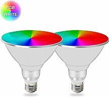 MENGS 2-er Pack Wasserdicht E27 PAR38 LED RGBW