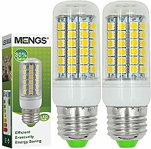 MENGS® 2 Stück E27 9W LED lampe Leuchtmittel & Birne Mais Licht 69x 5050 SMD LEDs Mit PC Material (550LM , Kaltweiß 6500K, AC 220-240V, 360º Abstrahlwinkel, Ø32 x 97mm) Super energiesparend licht gut für die Wärmeabgabe