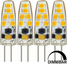 MENGS® 4 Stück Dimmbar G4 LED Lampe 3W AC/DC 12V Kaltweiß 6500K 12x2835 SMD Mit Silikon Mantel