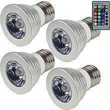 MENGS® 4 Stück E27 RGB LED Lampe 3W AC 85-265V