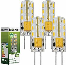 MENGS® 4 Stück G4 1,5W LED Licht Birne 24 SMD LEDs LED Lampe Leuchtmittel mit Silikon Material (150lm, Warmweiß 3000K, 360º Abstrahlwinkel, AC / DC 12V, Ø9 x 34mm) Energiespar Lich