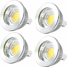 MENGS® 4 Stück MR16 5W LED Rampenlicht lampe Birne COB SMD LEDs LED Strahler Licht Leuchtmittel mit Aluminium-Gehäuse und Glas-Abdeckung (Warmweiß 2700-3200K, 600lm, 120 Grad, Ø50 x 52mm, 12V AC) Energiespar lich