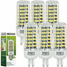 MENGS® 6 Stück G9 LED Lampe 12W AC 220-240V Warmweiß 3000K 123x2835 SMD Mit Aluminium Platte