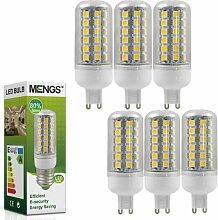 MENGS® 6 Stück G9 LED lampe Leuchtmittel & Birne Mais Licht 7W (Kaltweiß 6000K - 450LM - 48 x 5050 SMD LED - 360º Abstrahlwinkel - AC 220-240V - Ø32×90mm) Energiespar lich