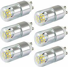 MENGS® 6 Stück GU10 5W LED Birne 24x2835 SMD Lampe & Leuchtmittel Mit Aluminium und Glas Körper (450LM, Warmweiß 3000K, AC 85-265V, 180º Abstrahlwinkel, Ø26 x 66mm) Energiespar Licht sehr gut für die Wärmeabgabe