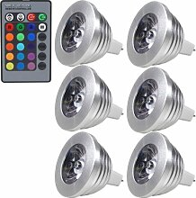 MENGS® 6 Stück MR16 RGB LED Lampe 3W DC 12V Mit IR-Fernbedienung