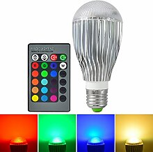 MENGS® E27 10W RGB LED Farbwechsel Lampe mit Aluminium und PC Körper (AC 95-265V, 600LM, 60x132mm) + IR Fernbedienung