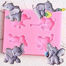 MENGYANG 3D Elefant Silikonform Rose Blume Vogel