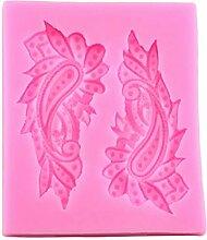 MENGYANG 3D Scroll Silikonform Pfauenfeder Candy