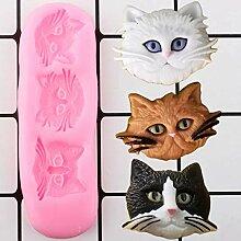 MENGYANG 3D Süße Katzenkopf Silikonform DIY