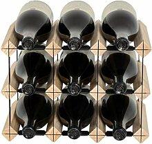 Mensolas Weinregal, 9 Flaschen, Kiefer und Metall