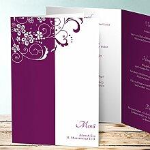 Menuekarte Hochzeit, Garten der Träume 70 Karten, Vertikale Klappkarte (A5) 145x210, Ro
