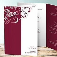 Menükarte Hochzeit gestalten, Garten der Träume 80 Karten, Vertikale Klappkarte (A5) 145x210, Ro