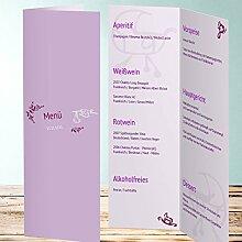Menükarten Design, Buggy 40 Karten, Vertikale Klappkarte 100x300, Lila