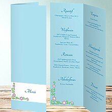 Menükarten Design, Cantig 20 Karten, Vertikale Klappkarte 100x300, Blau