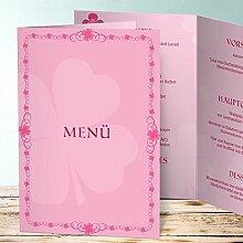 Menükarten Design, Kleeblatt 25 Karten, Vertikale Klappkarte (A5) 145x210, Ro