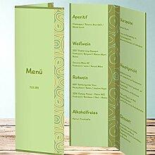 Menükarten Design, Kleinod 35 Karten, Vertikale Klappkarte 100x300, Grün