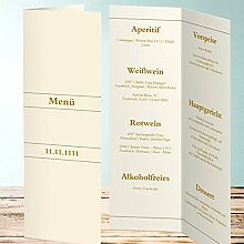Menükarten Design, Lubi 5 Karten, Vertikale Klappkarte 100x300, Orange