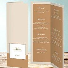 Menükarten Design, Mauke 30 Karten, Vertikale Klappkarte 100x300, Braun