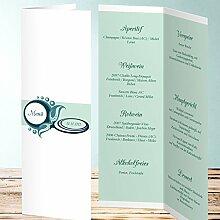 Menükarten Design, Perle 110 Karten, Vertikale Klappkarte 100x300, Grün