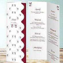 Menükarten Design, Reinweiß 25 Karten, Vertikale Klappkarte 100x300, Ro