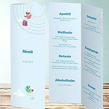 Menükarten Design, Scherflein 120 Karten, Vertikale Klappkarte 100x300, Blau