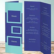 Menükarten Design, Urmel 150 Karten, Vertikale Klappkarte 100x300, Blau