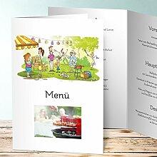 Menükarten Geburtstag, Garten BBQ 55 Karten, Vertikale Klappkarte (A5) 145x210, Weiß