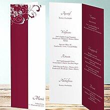 Menükarten Hochzeit Vorlagen, Garten der Träume 10 Karten, Vertikale Klappkarte 100x300, Ro