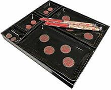 Menukonzept Sushi-Set 8-teilig schwarz mit Teller
