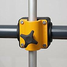 Menz Balkonschirmhalter/Sonnenschirmhalter für alle Geländerprofile, schwarz/gelb, 4 Stück - Qualitätsprodukt Made in Germany - Kostenlose Lieferung