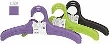 Menz KleBü 'elegant'- Kleiderbügel, 4 x 3er-Set in lila | Wäschebügel, Gardeobenbügel aus Kunststoff, 18 x 40 x 3,5cm - Made in Europe