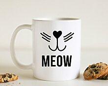 Meow Cat Becher Funny Tasse Cat Lovers Tasse Katze