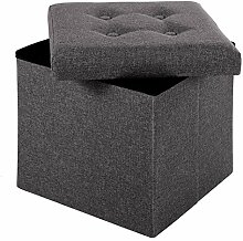 Merax® Faltbar Sitzhocker Sitzbank mit stauraum Fußbank Sitzwürfel Fußablage faltbar leinen (38x38x38, Dunkelgrau)